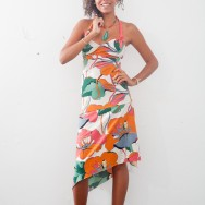 Joy in a longer version of the flower print dress