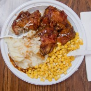 bbq chicken, corn, and mashed potatoes