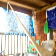 a painterly picture of Lizzie on the porch hammock